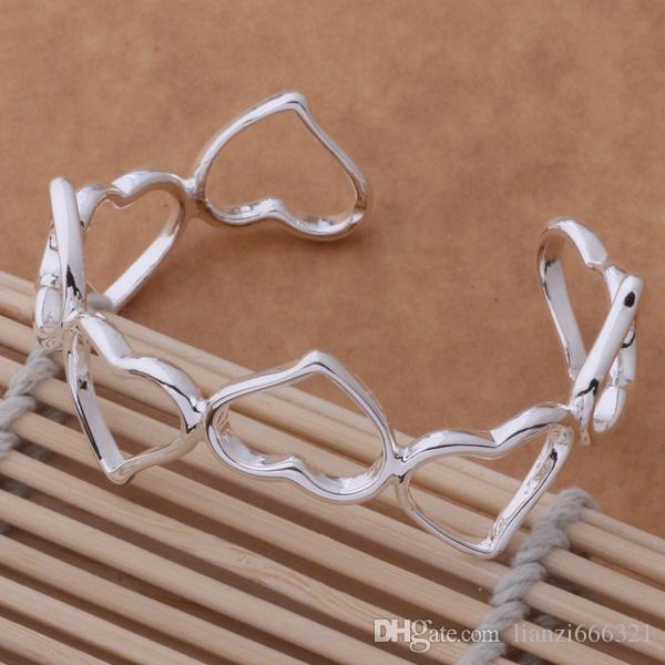 10 sztuk / partia Hot Prezent Fabryka Cena Hurtownie Nowy 925 Sterling Silver 8 Serce Bransoletki Bangle Biżuteria 1291
