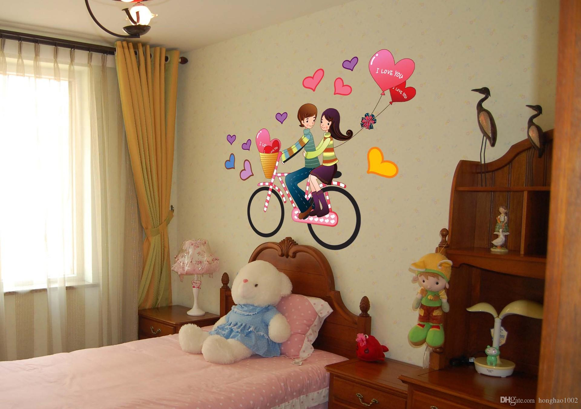 Decorative Wall Stickers wall stickers romantic couple bike travel decoration wall hangings