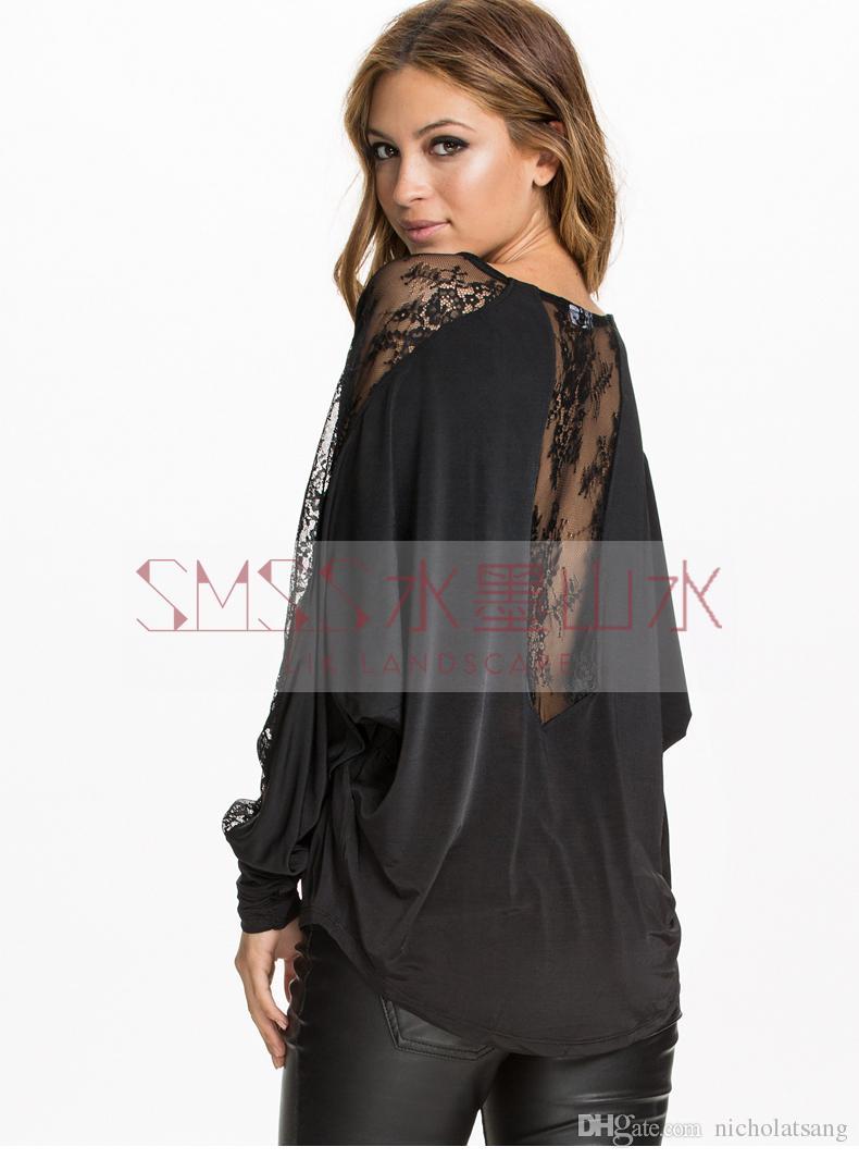 2016 Street Fashion Patchwork Lace Racerback O-cuello de manga larga camiseta de las mujeres Camisa básica sin respaldo sexy ahueca hacia fuera suelta blusas negras