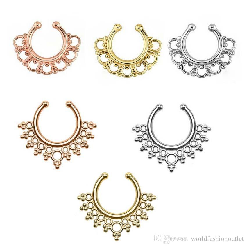 Clip-on Nose Rings Studs Fake Nose Ring Unisex Punk Non Piercing ...