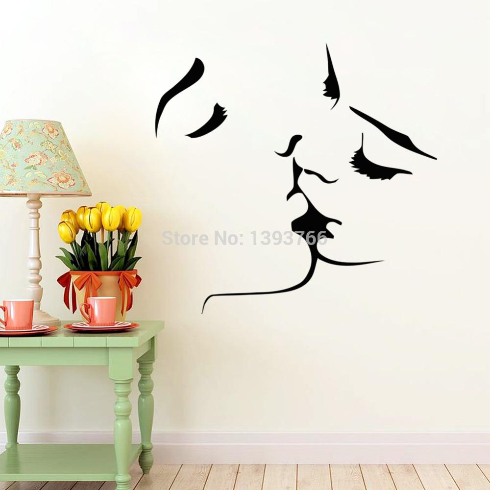 Couple kiss wall stickers home decor 8468 wedding decoration wall see larger image amipublicfo Image collections