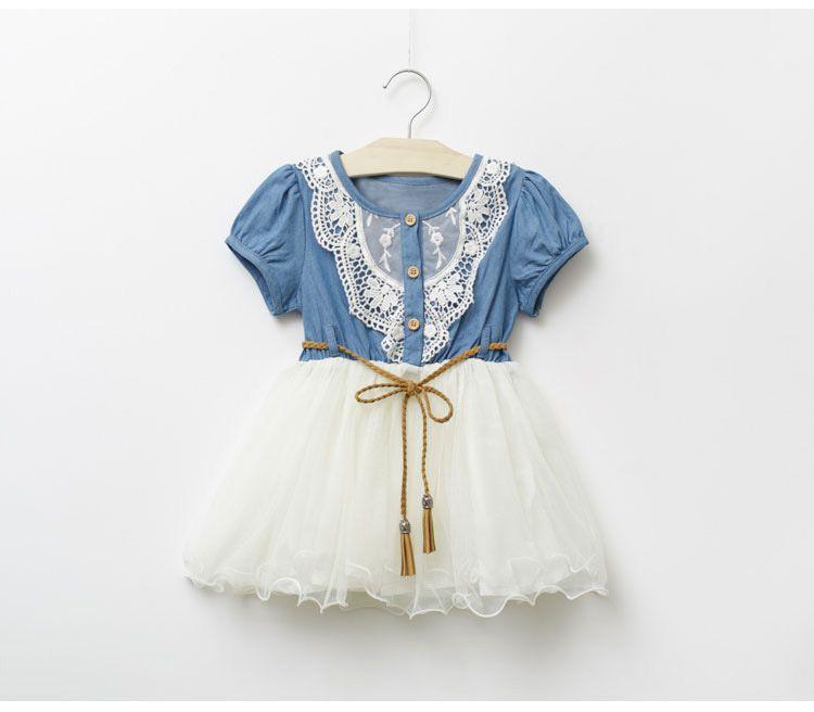 Wholesale -- 2014 Summer Kids Baby Girls Dresses Short Sleeve Denim Floral Waistband Lace Gauze Bow Dresses C001