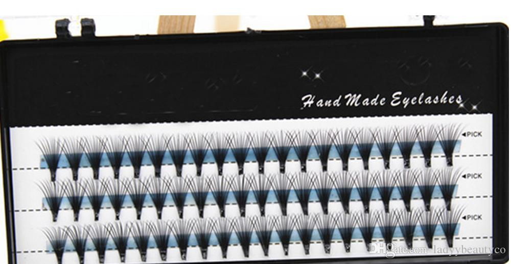 0.05mm 20 hair/cluster Flare Knot Free Natural Long Black Individual Eyelash Extension Synthetic Extension Kit