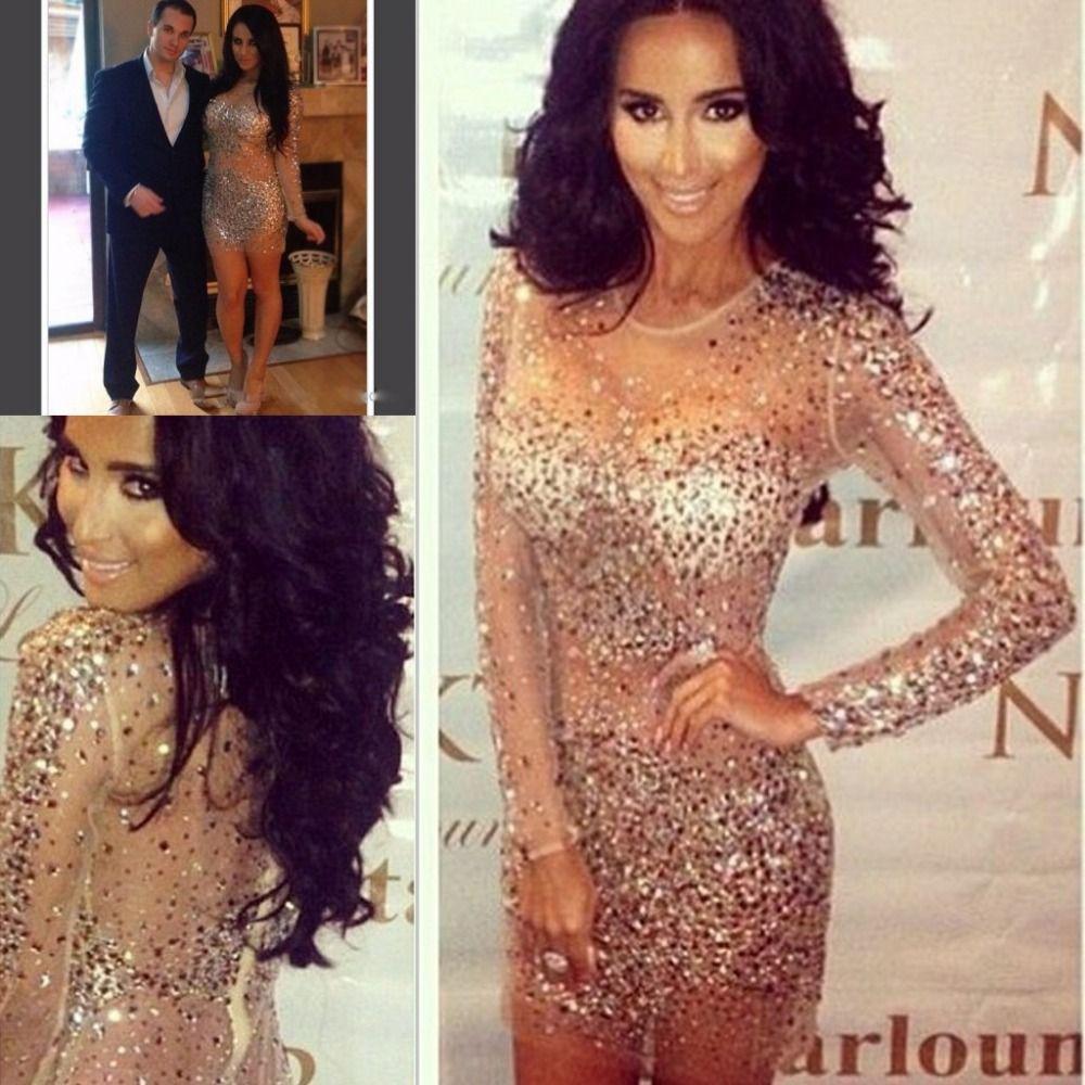 Großhandel Robe Sexy Long Sleeves Evenig Kleider Kim Kardashian ...