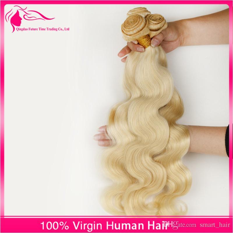 7A russisches blondes reines Haar spinnt 3 Bündel 100% unverarbeitete russische reine Haarkörperwelle 613 platinblonde menschliche Haarverlängerungen