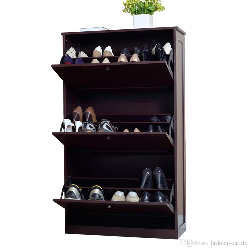 Uncategorized Shoe Cabinet Organizer 2018 wood shoe cabinet organizer rack shelf storage with 3 drawers for entryway furniture usa stock from fashionyourlife 172