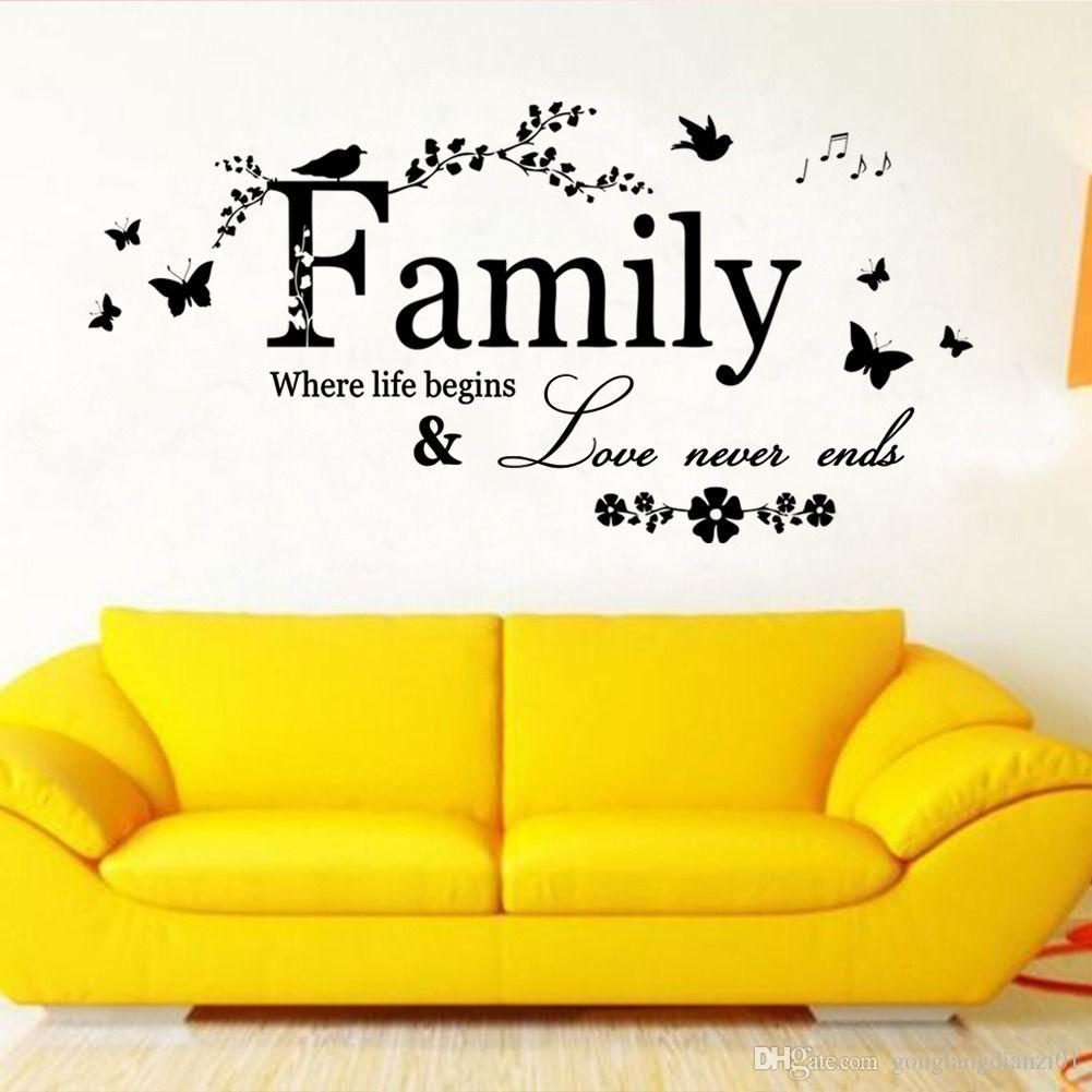 Diy Family Where Life Begins Wall Sticker Quote Words Decal Vinyl ...