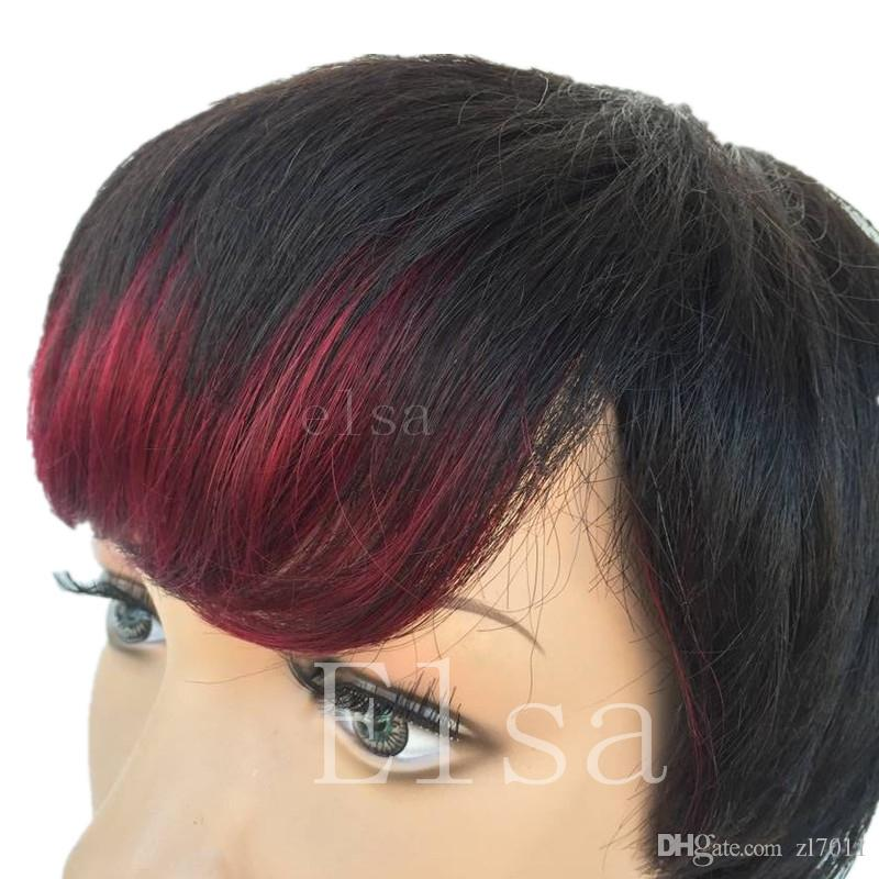 Short Natural Full Wig 100 Brazilian Human Hair Silk Straight Short Wigs for African Amercian Black Women 1b/99J