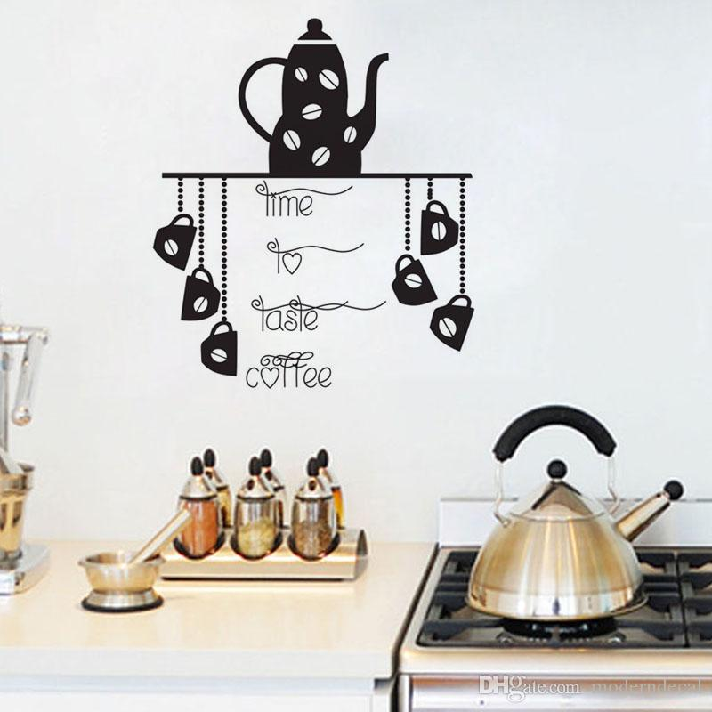 time to taste coffee wall decals vinyl removable diy wall stickers