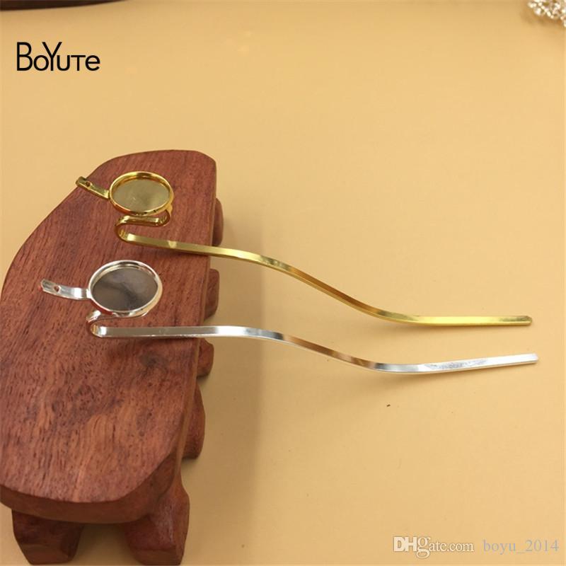 BoYuTe 14MM Base Cabochon Vassoio vuoto Silver Gold Hair Stick Kanzashi Accessori capelli fai da te