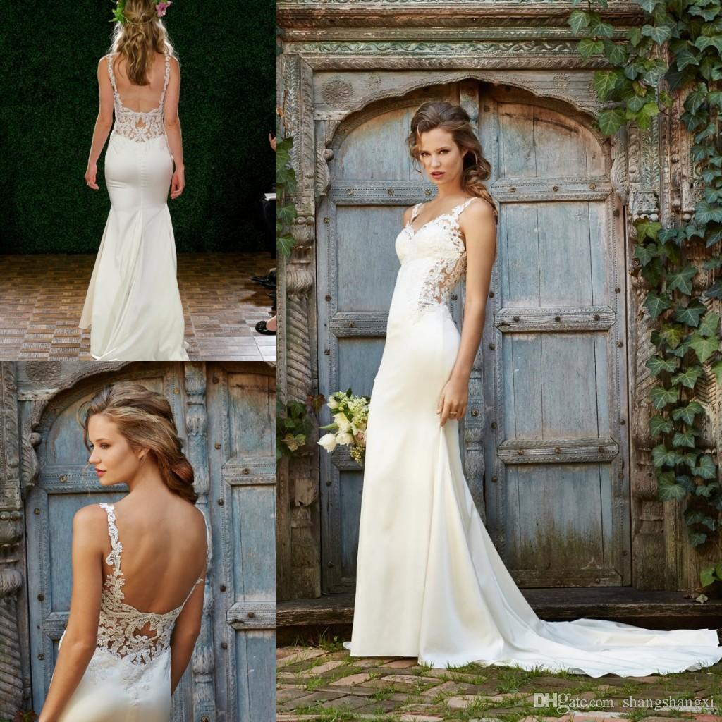 2018 Country Wedding Dresses Sexy Mermaid Spaghetti Strap Lace Dress Open Back Sleeveless Court Train Summer Beach