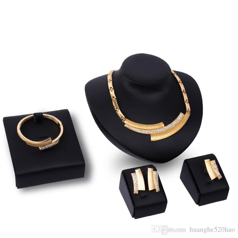 African Jewelry Sets 18K Gold Plated Statement Necklace Earrings Bangle Ring Set For Women Crystal Jewelry Costume Accessory