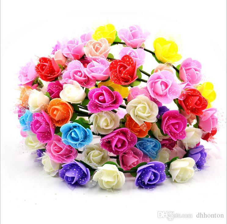 도매 인공 꽃 꼰된 가죽 탄성 머리 장식 여자 헤어 밴드 모듬 된 색상 머리 장식품 hairband BT020