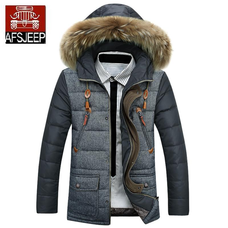 b290c160ef4b Men Winter Long Section Jacket Thick Down Coat Real Fur Collar Parka ...