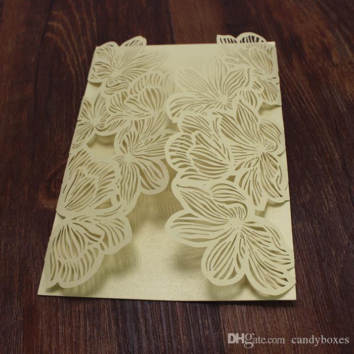 Rustik altın parti davetiye petal şekli lazer kesim nişan bebek duş düğün ücretsiz gemi davet ediyor
