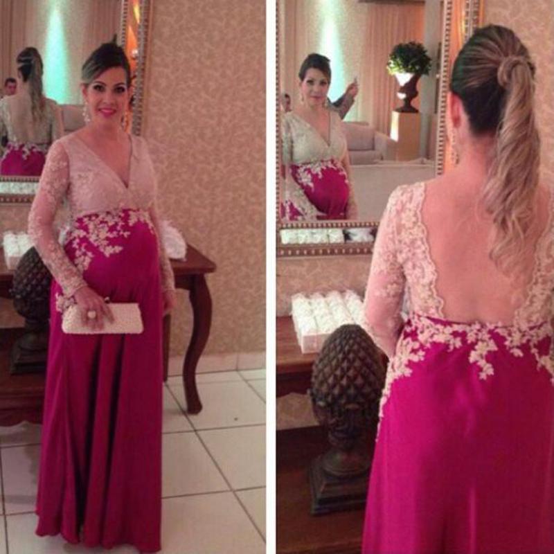2016 nieuwe aankomst sexy diepe v-hals vrouwen zwangere kant avondjurken vloer lengte lange mouw backless elegante prom jurken jurken D032