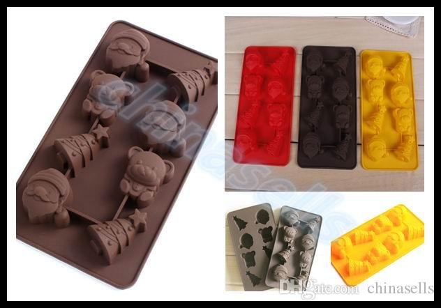 Food-grade Silicone Santa Claus Christmas tree Ice Cube Ice Box Chocolate Molds Jelly cup Mold Candy Cake Mould Bakeware