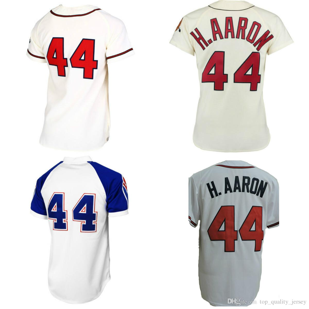 purchase cheap 55cc5 e4bda hank aaron jersey shirt- HIS LLC