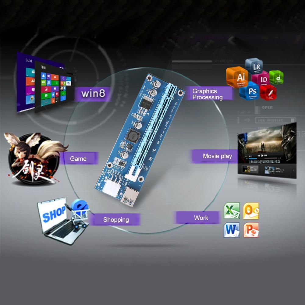 USB 3.I-E 1X a 16X espresso Extender Riser scheda PCI Express adattatore 6Pin CC-CC Cavo adattatore BTC Bitcoin Mining