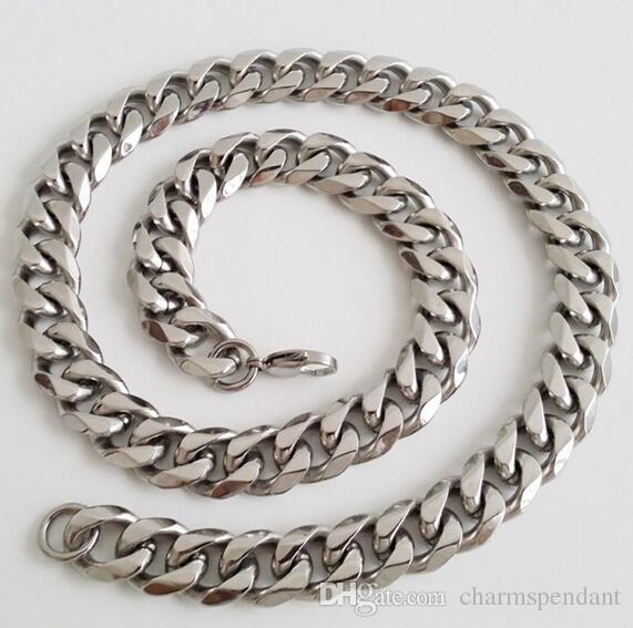 Brand New For Holiday GIft High Quality Silver 316L Stainless steel Fashion curb Link Chain Necklace Cool men Bling 13mm 20''-28''