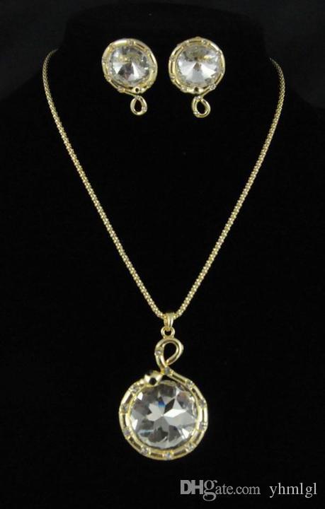 مجموعات المجوهرات حزب نمط خمر للنساء 18 كيلو مطلية بالذهب 4 اللون النمساوي كريستال الأفعى قلادة NecklaceEarrings مجموعة