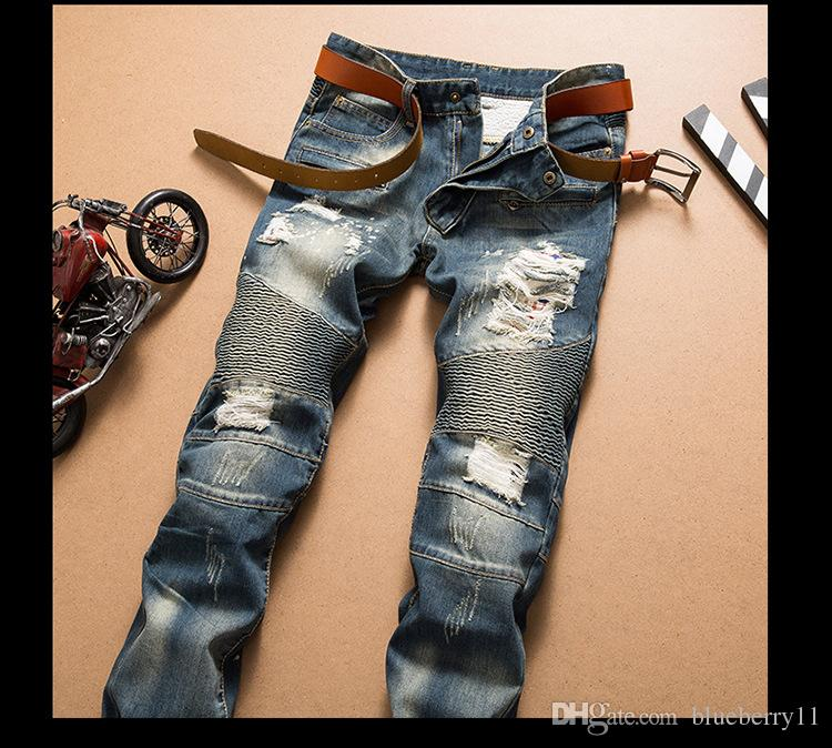 Mode der neuen Männer Jeans kühlen Mens Distressed zerrissene Jeans-Modedesigner Gerade Motorradfahrer Jeans-verursachende Jeanshosen Street Stil