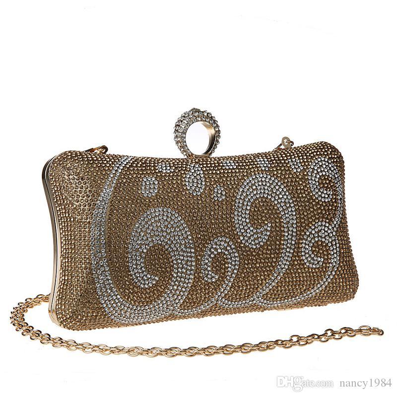 جديد حجر الراين الدائري مشبك حقيبة يد الأزياء العشاء مخلب حقيبة عالية الجودة مساء حقيبة الزفاف حزب العروس محفظة