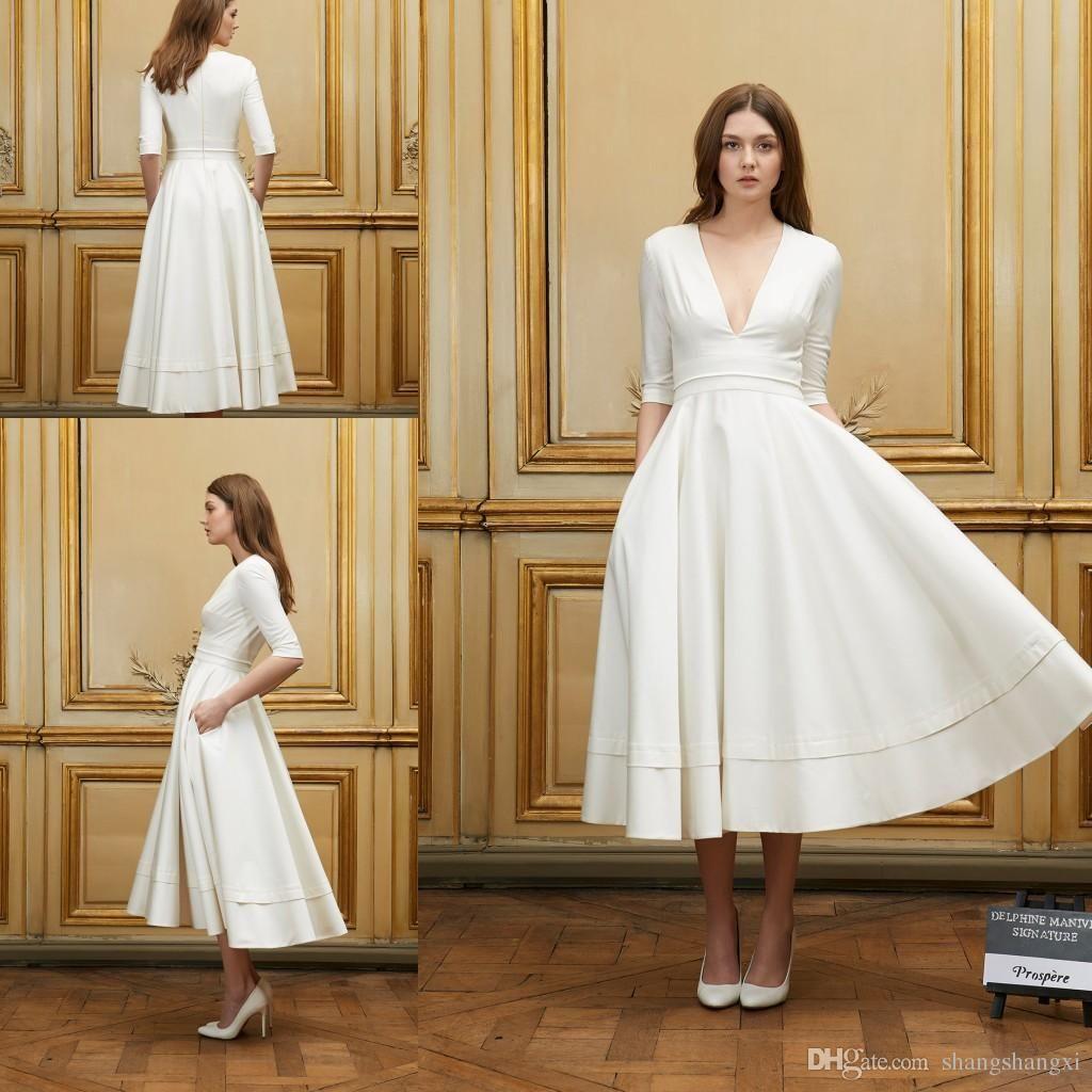 Discount 2017 Short Beach Wedding Dresses Delphine Manivet A Line Sexy Deep V Neck 1 2 Sleeves Natural Waist Zipper Tea Length Bride Dress