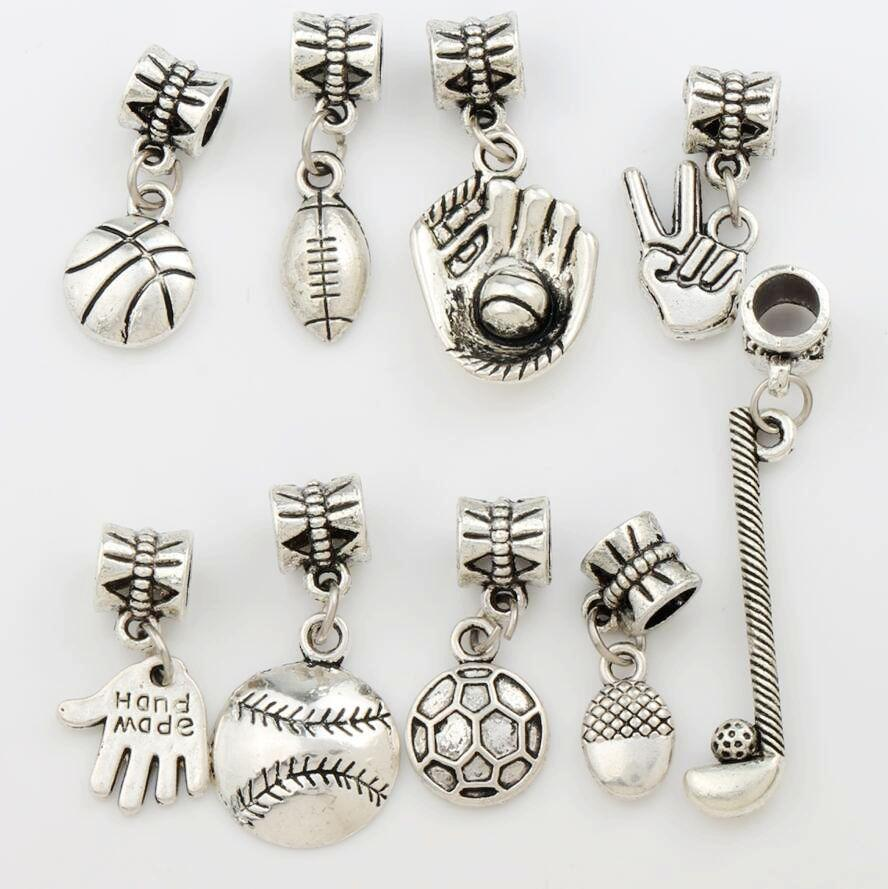 100pcs/lot Sports Ball Charm Metal Big Hole Beads Antique Silver 9Styles Fit European Charm Bracelets Jewelry DIY