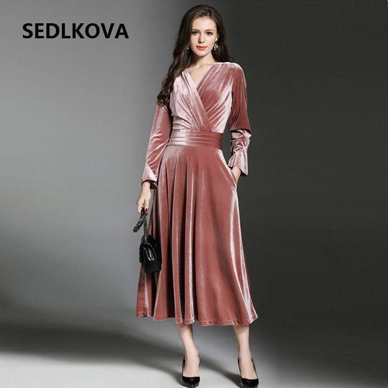 2017 Winter Dresselegant Woman Party Vintage Long Sleeve Velvet