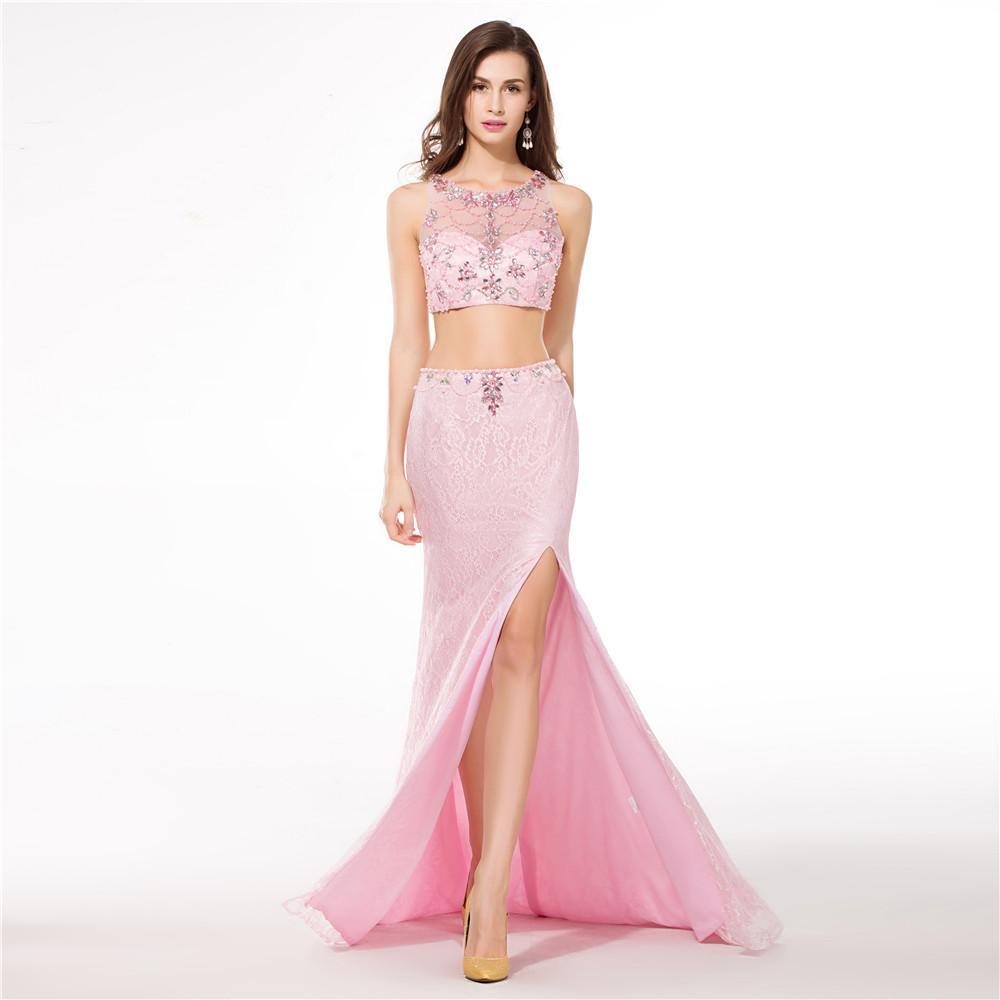 Prom Dresses Sleeveless Big Ass Beading Side Slit Spanish Lace ...