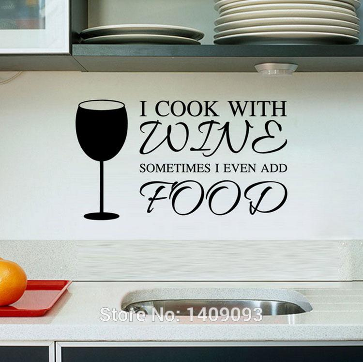 Kitchen Wall Stickers Cook With Wine Vinyl Wall Quotes Diy Kitchen  Decoration Removable Waterproof Wall Decals Home Decor Banksy Wall Stickers  Bathroom Wall ...