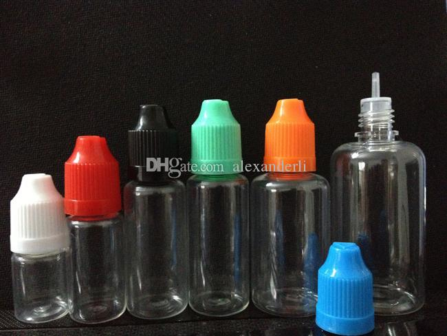 E Liquid PET Dropper Bottle with Colorful Childproof Caps Long Thin Tips Clear Plastic Needle Bottlesl 5ml 10ml 15ml 20ml 30ml 50ml