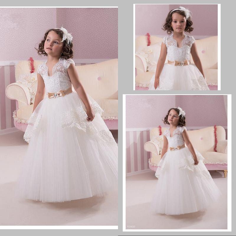 Summer Flower Girls\' Dresses For Wedding Vintage Ball Gown Lace Baby ...