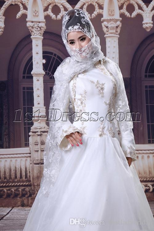 Muslim High Neck White Wedding Dresses A-line Long Sleeve 2015 Bridal Gowns Islamic Dress For Brides