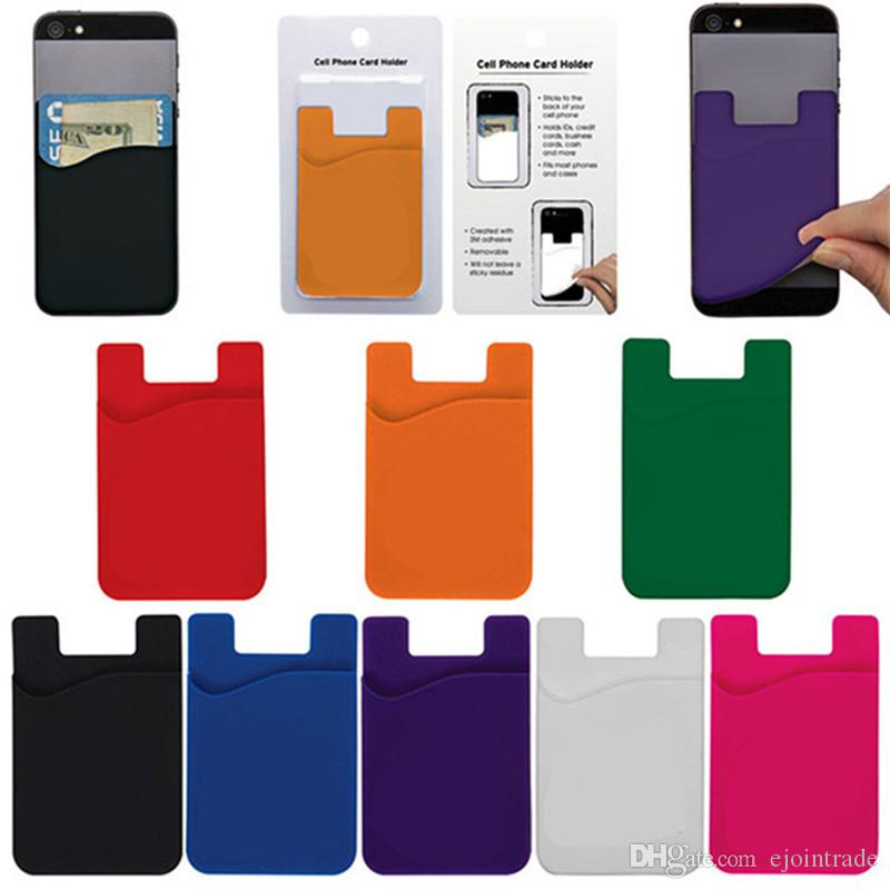 print business name 3m sticky phone wallet silicone self adhesive