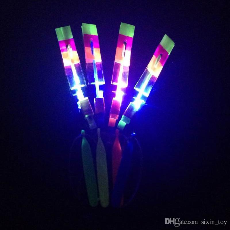 2017 Hot Sale LED Amazing Flying Arrows LED Helicopter Toy Light Up Umbrella Parachute Flash Toys Christmas Gift DHL