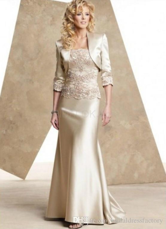 2018 Champagne satin mother of the bride dresses floor length evening dress & jacket