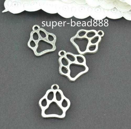 Antique silver charms paw print pendants for jewelry findings 13x11mm