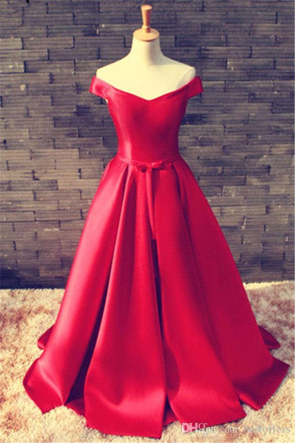 肩の床の長さサテン・プロム・ガウン党の女性形式のガウンのための実際の写真赤い長い暴走赤いカーペットのイブニングドレス