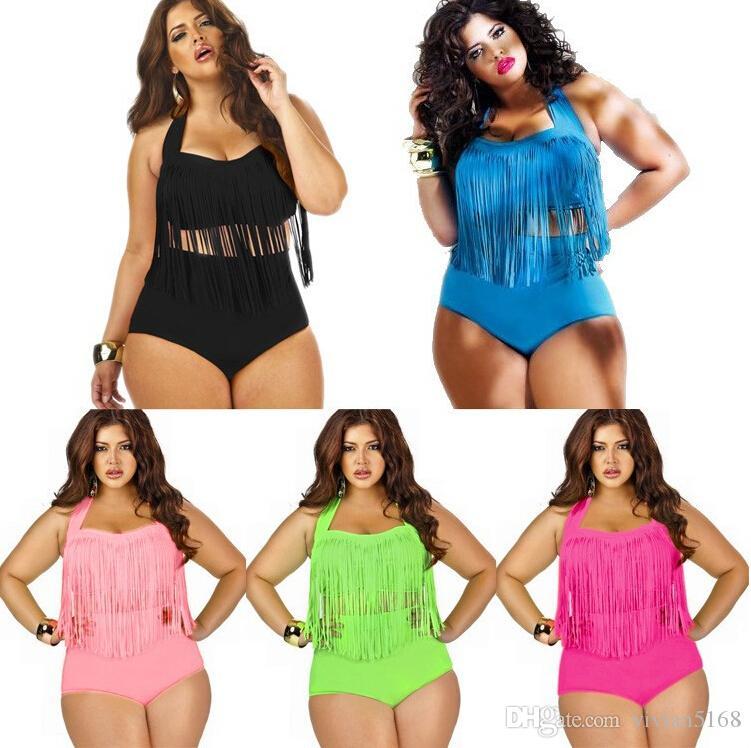 Retail Plus Size Swimwear For Women Fringe Tassels Bikini High Waist Swimsuit Sexy Women Bathing Suit Padded Boho Swimsuit