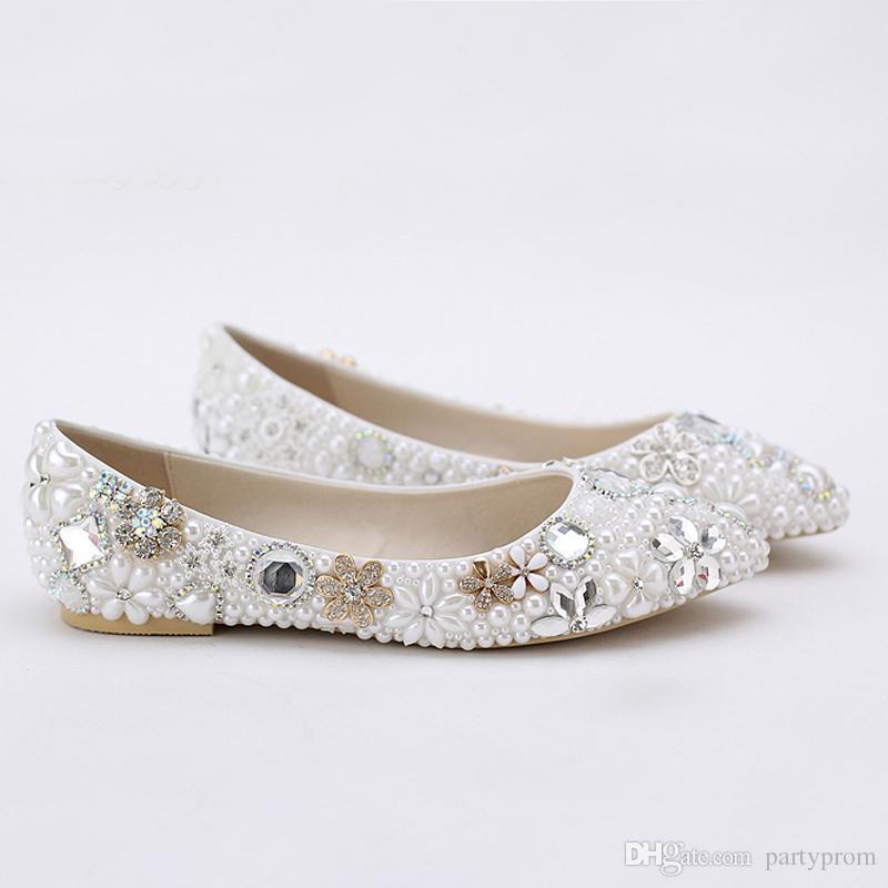 Luxueux Élégant Imitation Perle Robe De Mariée Chaussures De Mariée Chaussures De Cristal Diamant 2 Pouces Faible Talon Femme Mode Pompes Lady Chaussures Habillées