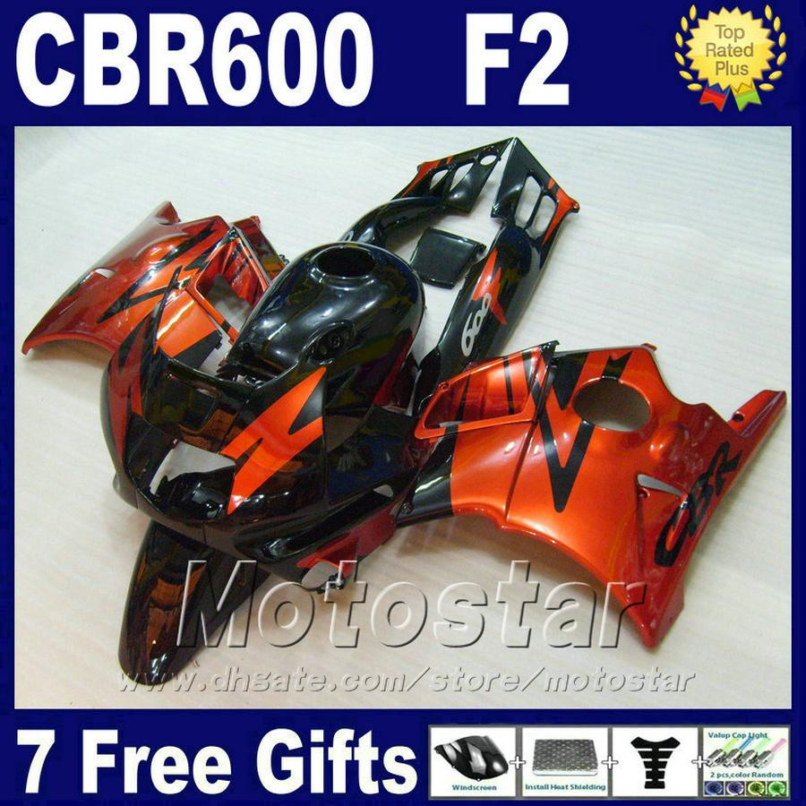 Customize parts for HONDA CBR 600 F2 custom fairing 1991 1992 1993 1994 black red CBR600 F2 fairing kits 91 92 93 94