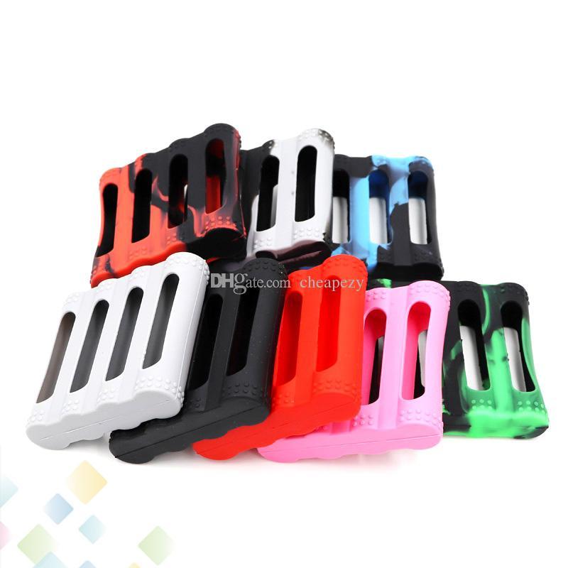 4 adet 18650 Piller için silikon Kılıf Çanta Silikon Kılıflar Renkli Değiştirilebilir Kapak Kauçuk Cilt Koruyucu Fit 4 adet 18650 Pil DHL Ücretsiz