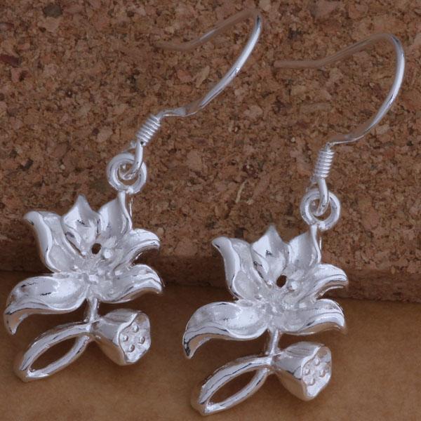 Мода производитель ювелирных изделий 40 шт. много Lotus серьги стерлингового серебра 925 ювелирные изделия заводская цена мода блеск серьги