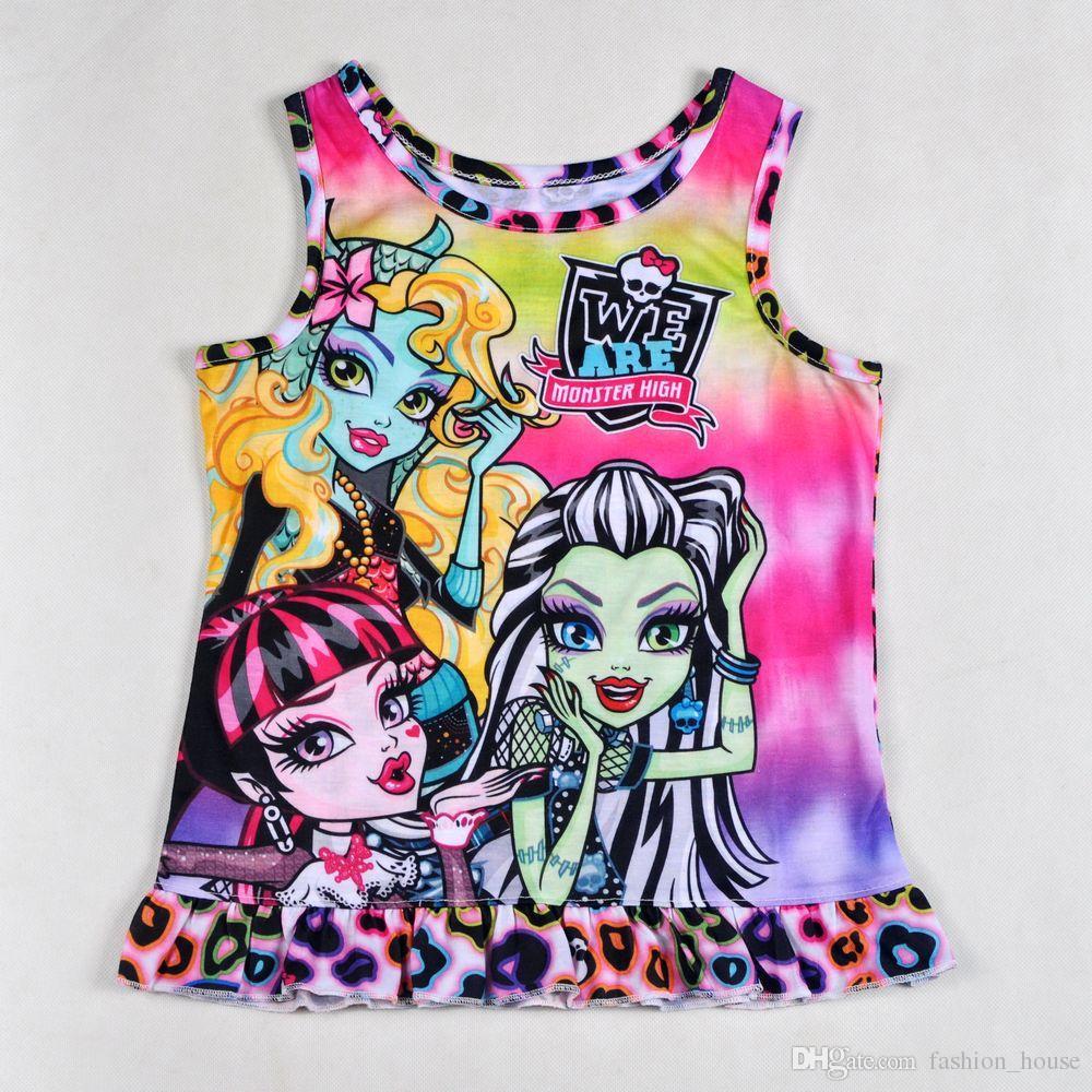 Ropa para niños pijamas monster high sin mangas top tees camiseta + pantalón corto conjunto pijama conjunto pijamas ropa de dormir / lote