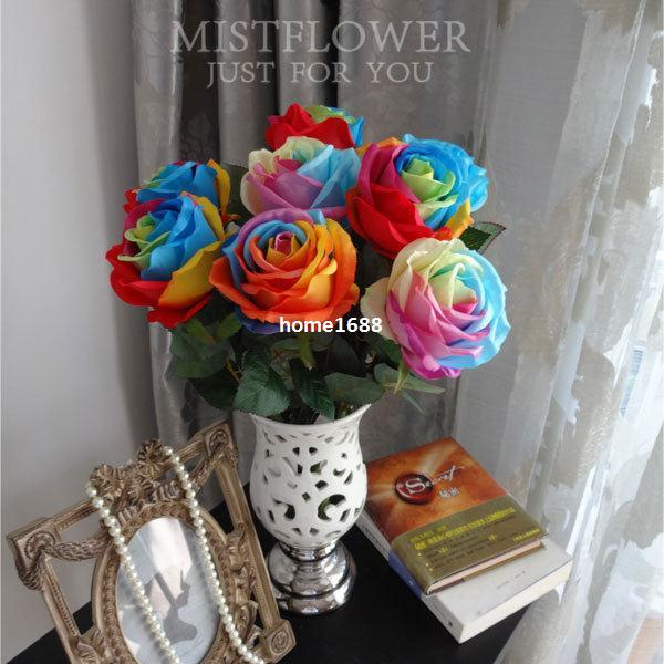 Colorful Days Rainbow Silk Roses Artificial Flowers Home Decoration ...