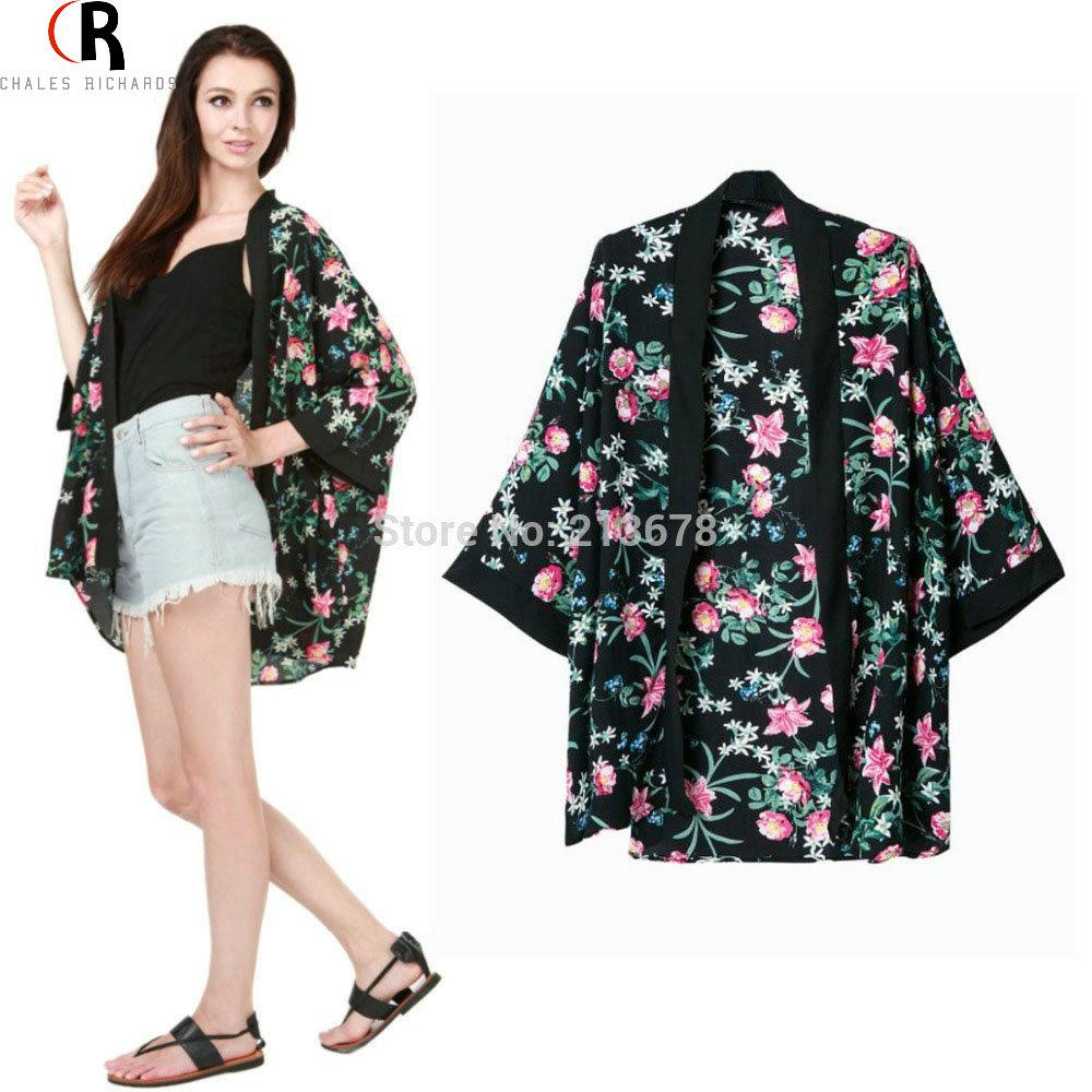 Best Vintage Women Black Floral Kimono Cardigan Jacket Half Sleeve ...