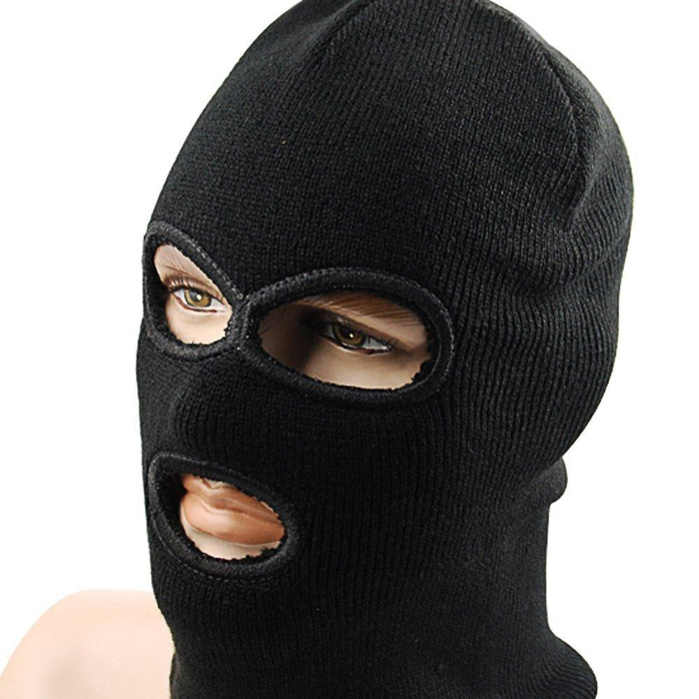 1x Black Balaclava Three Hole Neck Full Face Mask Pull Over Double ...