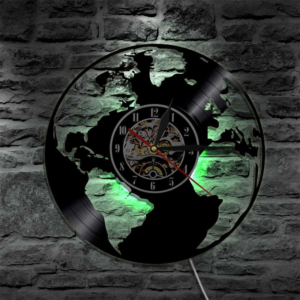 World map led silhouette backlight modern light vinyl clock color world map led silhouette backlight modern light vinyl clock color change decor art lamp remote control decor nightlight large unique wall clocks large gumiabroncs Choice Image